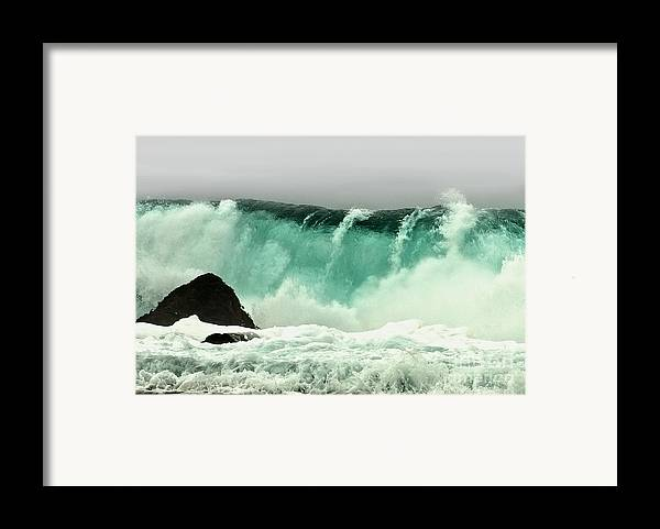 Crashing Wave Framed Print featuring the photograph Pebble Beach Crashing Wave by Artist and Photographer Laura Wrede