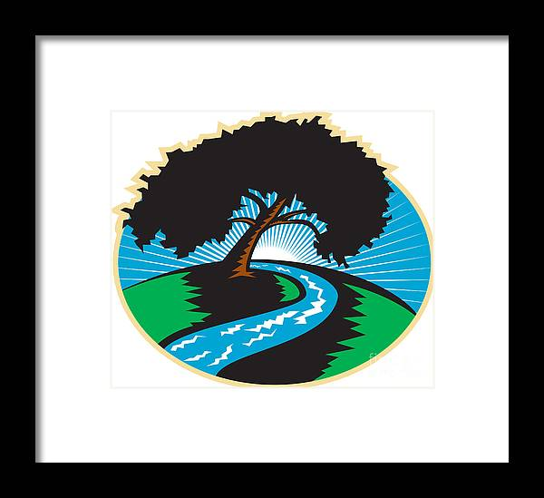 Pecan Tree Framed Print featuring the digital art Pecan Tree Winding River Sunrise Retro by Aloysius Patrimonio