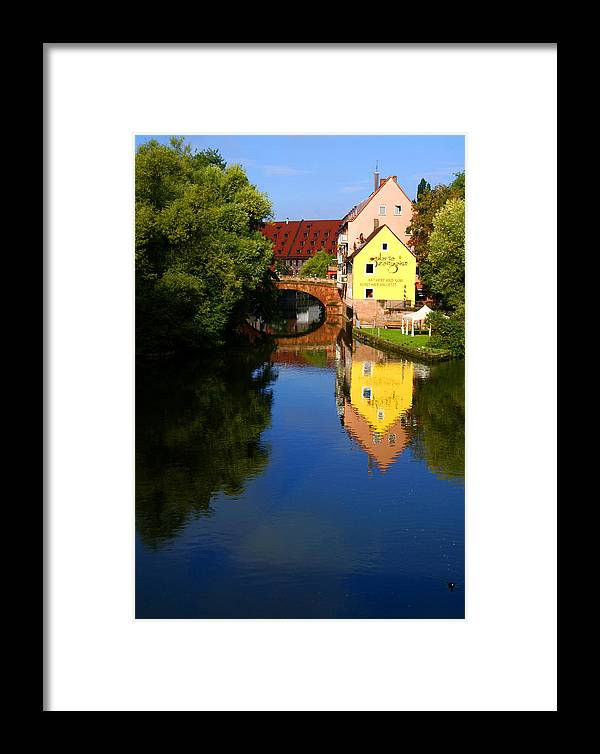 Pegnitz River Framed Print featuring the photograph Pegnitz River In Nuremberg by Benjamin Reed