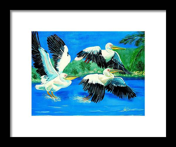 Pelican Framed Print featuring the painting Pelican Trio by Kathern Welsh