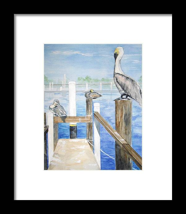 Pelicans Framed Print featuring the painting Pelicans by Ellen Canfield