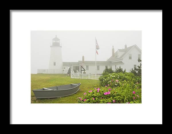 Lighthouse Framed Print featuring the photograph Pemaquid Point Lighthouse In Fog Maine Prints by Keith Webber Jr