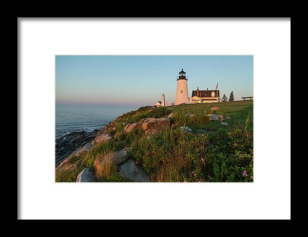 Tranquility Framed Print featuring the photograph Pemaquid Point Maine Lighthouse by Dave Mention Photography