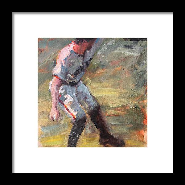 Hunter Pence Sf Giants Painting Baseball Artwork Framed Print featuring the painting Pence in Right by Darren Kerr
