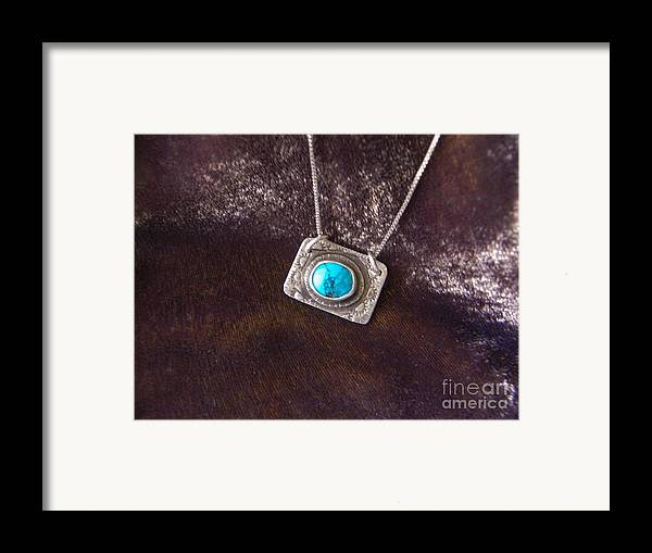 Turquoise Framed Print featuring the jewelry Pendant With Turquoise by Patricia Tierney