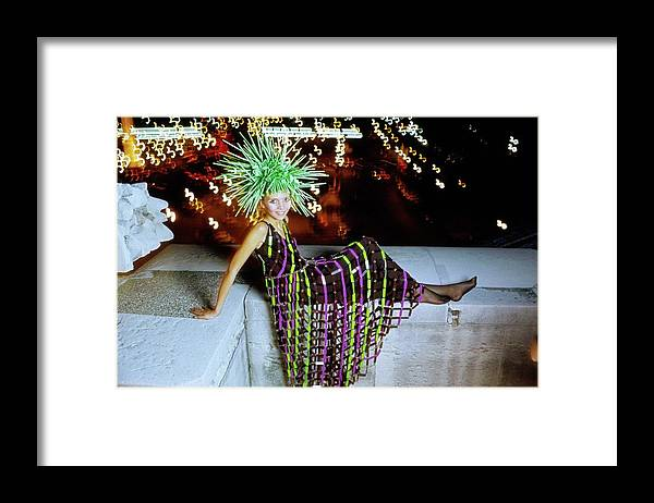 Fashion Framed Print featuring the photograph Penelope Tree Wearing Paco Rabanne by Arnaud de Rosnay