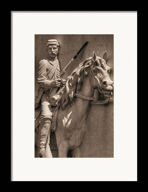 Civil War Framed Print featuring the photograph Pennsylvania At Gettysburg - 17th Pa Cavalry Regiment - First Day Of Battle by Michael Mazaika