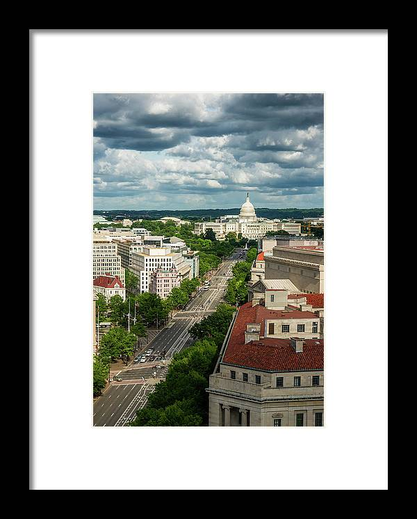 Built Structure Framed Print featuring the photograph Pennsylvania Avenue Leading Up To The by Miralex