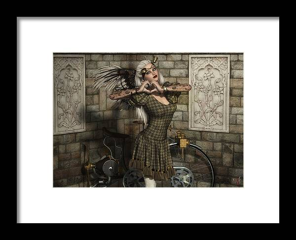 Steampunk Framed Print featuring the digital art Penny Farthing by Rachel Dudley