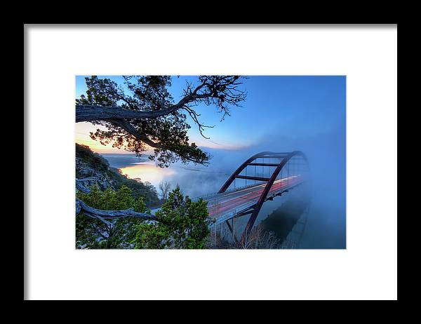 Tranquility Framed Print featuring the photograph Pennybacker Bridge In Morning Fog by Evan Gearing Photography