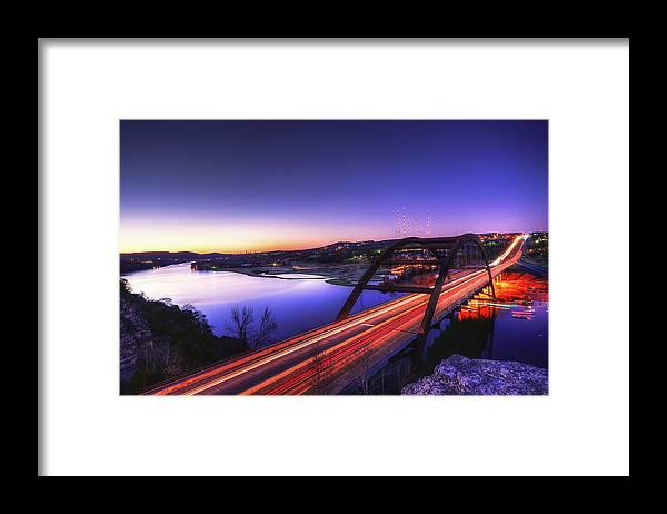 Tranquility Framed Print featuring the photograph Pennybacker Bridge by John Cabuena Flipintex Fotod