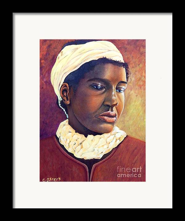 Portrait Framed Print featuring the painting Pensive Contemplation by Caroline Street