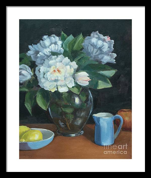Peionies Framed Print featuring the painting Peonies In Glass Vase by Marge Casey