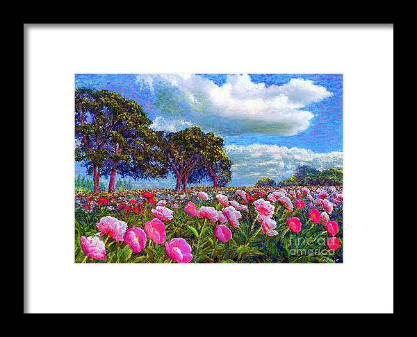 Sun Framed Print featuring the painting Peony Heaven by Jane Small