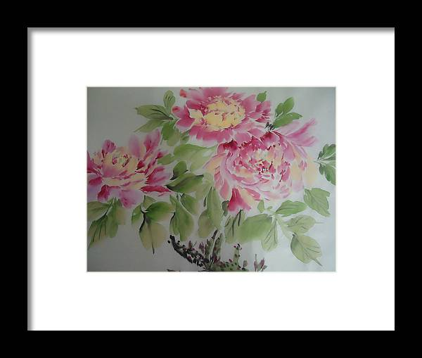 Flower Peony Framed Print featuring the painting Peony015 by Dongling Sun