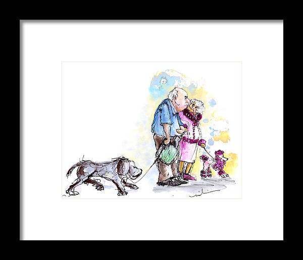 Sketch Framed Print featuring the painting People And Their Dogs 02 by Miki De Goodaboom