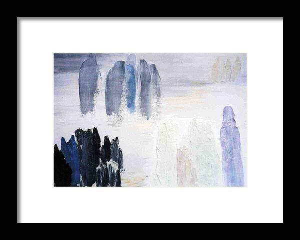 White Landscape Framed Print featuring the painting People Come And They Go by Bruce Combs - REACH BEYOND