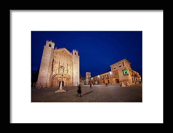 People Framed Print featuring the photograph People crossing from church of St. Paul by Jesus Gonzalez