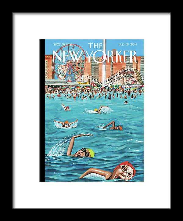 Beach Framed Print featuring the painting Coney Island by Mark Ulriksen