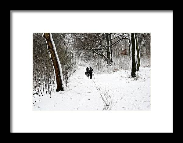 People Framed Print featuring the photograph People On Ski In Snowy Landscape by Jean Schweitzer