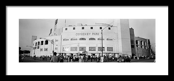 Photography Framed Print featuring the photograph People Outside A Baseball Park, Old by Panoramic Images