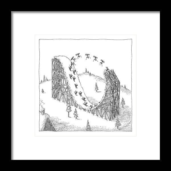 Skiing Framed Print featuring the drawing People Ski On A Circular Ski Ramp That Resembles by John O'Brien