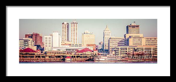 1950s Framed Print featuring the photograph Peoria Illinois Skyline Retro Panorama Picture by Paul Velgos
