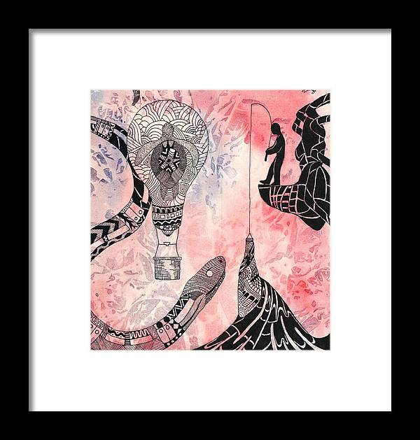 Snake Spider Water Ocean Fishing Bottle Life Turtle Sea Wake Hiss Tarantula Platform Train Doors Light Bulb Perception Behind Framed Print featuring the drawing Perception by Wattie Wildcat