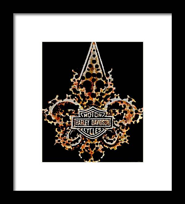 Danielle Parent Framed Print featuring the digital art Perforated Fleurs De Lys With Harley Davidson Logo by Danielle Parent