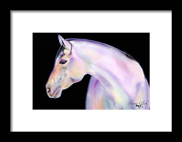 Horse Paintings/prints Framed Print featuring the painting Perlino Night by Marie Clark