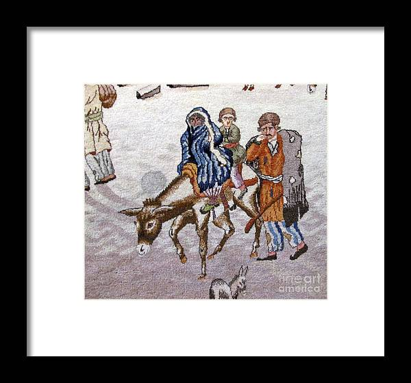 Persian Motifs Photos Framed Print featuring the photograph persian lady on horse with her baby       Close up photos by myself of Persian antique carpet by Persian Art
