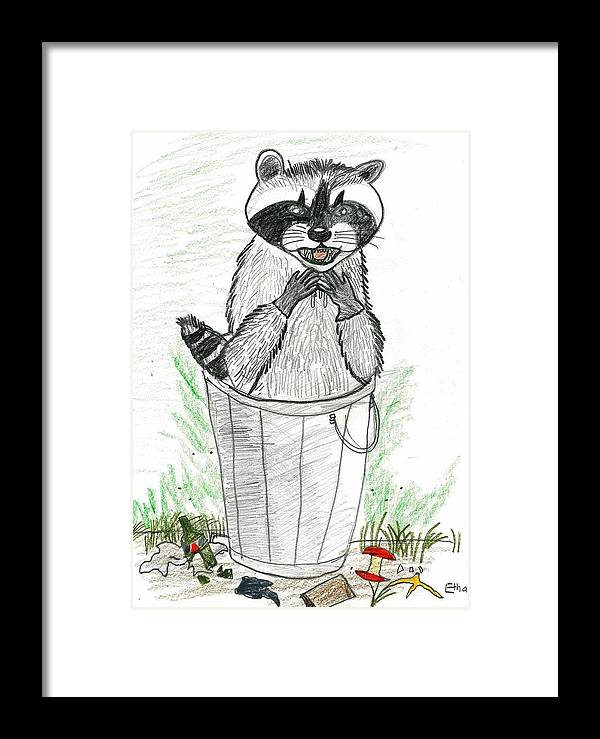 Raccoon Framed Print featuring the drawing Pesky Raccoon by Ethan Chaupiz