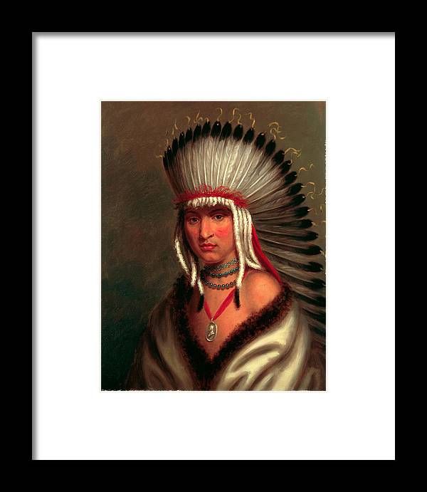 Charles Bird King Framed Print featuring the painting Petalesharro. Generous Chief Pawnee by Charles Bird King
