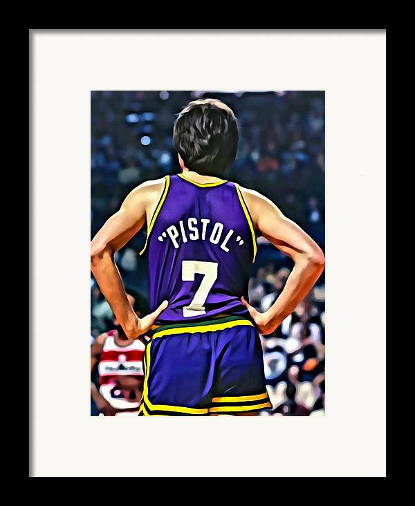Pete Maravich Framed Print featuring the painting Pete Maravich by Florian Rodarte