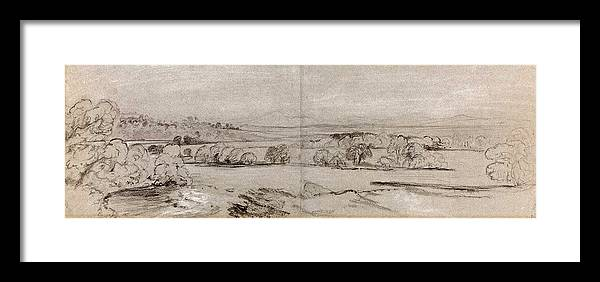 Peter Framed Print featuring the drawing Peter De Wint, British 1784-1849, A View Near Lowther by Litz Collection