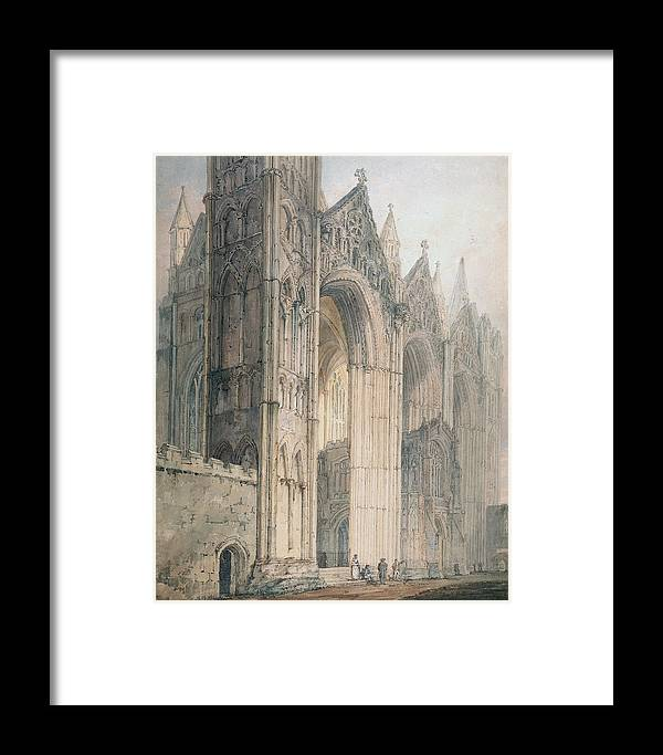 Architecture Framed Print featuring the painting Peterborough Cathedral by Thomas Girtin