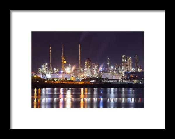 Air Framed Print featuring the photograph Petrochemical Plant In Night by Ioan Panaite