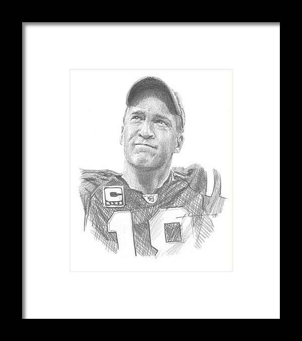 <a Href=http://miketheuer.com Target =_blank>www.miketheuer.com</a> Peyton Manning Colts Farewell Pencil Portrait Framed Print featuring the painting Peyton Manning Colts Farewell Pencil Portrait by Mike Theuer