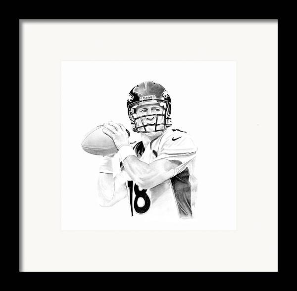 Manning Framed Print featuring the drawing Peyton Manning by Don Medina