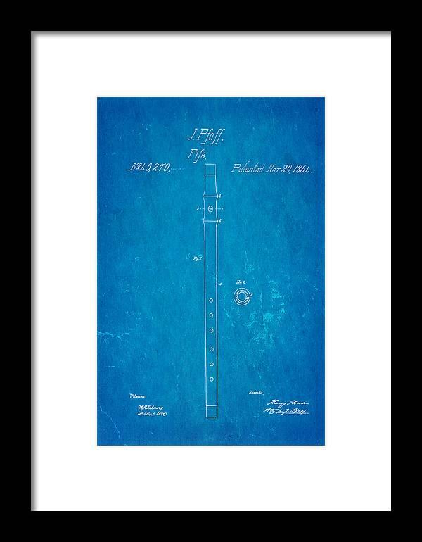 Famous Framed Print featuring the photograph Pfaff Fife Patent Art 1864 Blueprint by Ian Monk