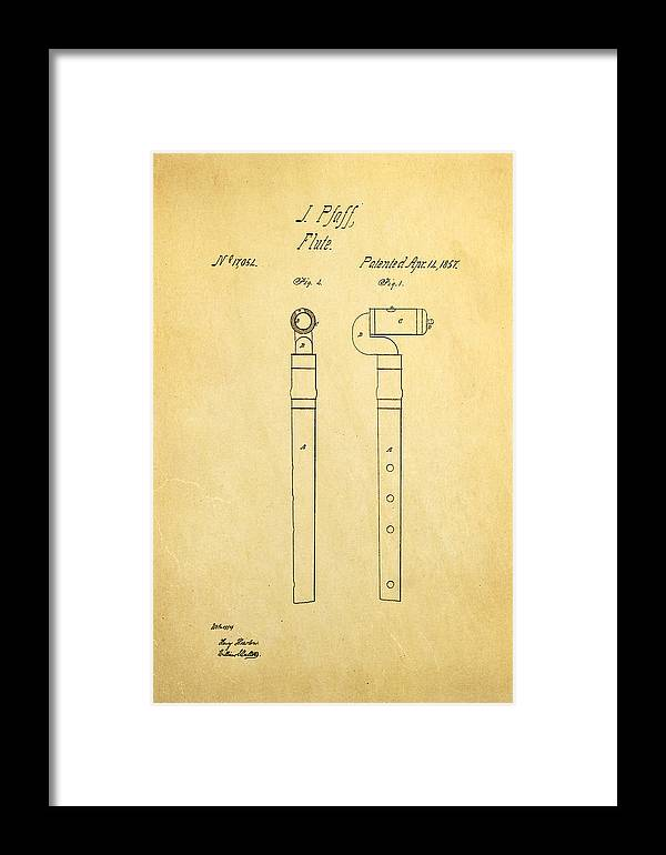 Famous Framed Print featuring the photograph Pfaff Flute Patent Art 1857 by Ian Monk