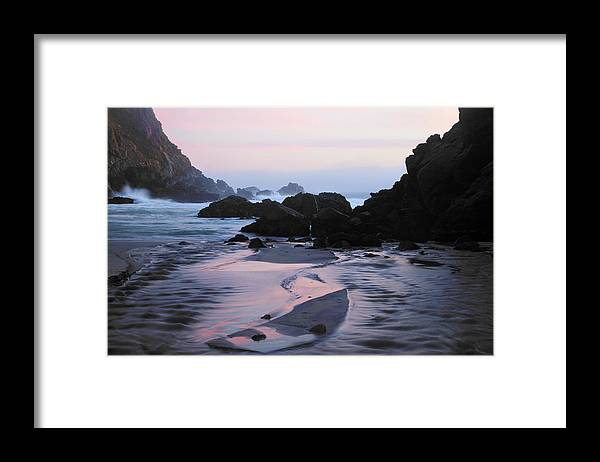 Water's Edge Framed Print featuring the photograph Pfeiffer Beach Rocks, Purple Sand And by Terryfic3d