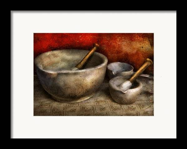 Hdr Framed Print featuring the photograph Pharmacist - Pestle And Son by Mike Savad