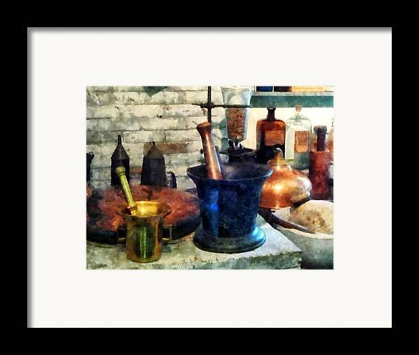 Drugstore Framed Print featuring the photograph Pharmacist - Three Mortar And Pestles by Susan Savad