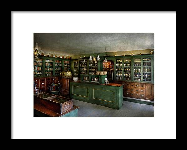 Apothecary Framed Print featuring the photograph Pharmacy - The Chemist Shop by Mike Savad