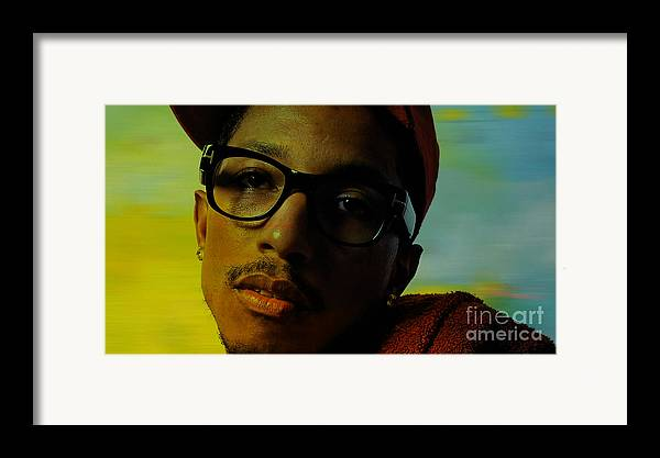 Ron Paintings Mixed Media Mixed Media Framed Print featuring the mixed media Pharrell Williams by Marvin Blaine