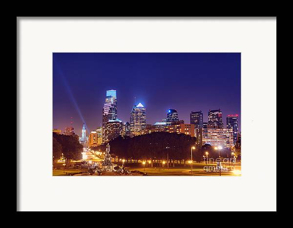 Philadelphia Framed Print featuring the photograph Philadelphia Nightscape by Olivier Le Queinec