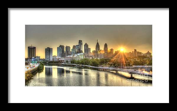 Philadelphia Framed Print featuring the photograph Philadelphia Sunrise by Mark Ayzenberg