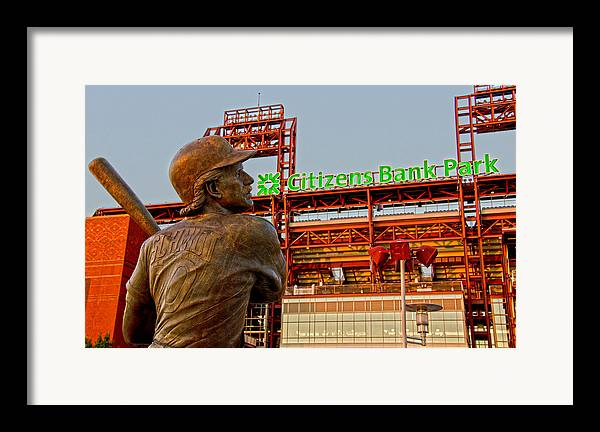 Phillies Framed Print featuring the photograph Philadelphia's Legend by Michael Misciagno