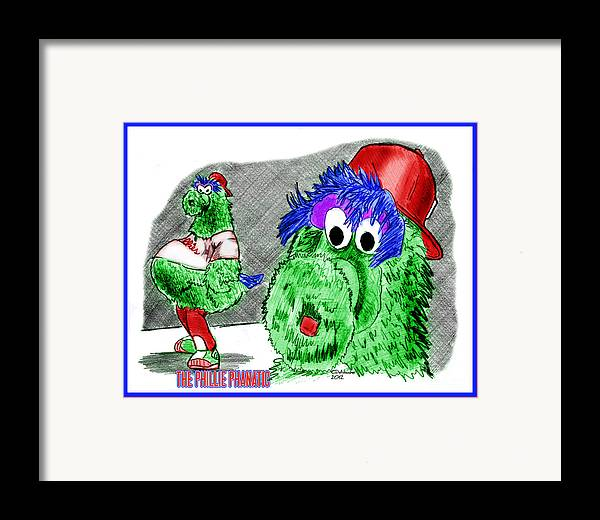 Baseball Framed Print featuring the drawing Phillie Phanatic by Chris DelVecchio